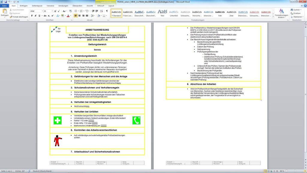 Arbeitsanweisung zum Erstellen von Prüfberichten bei Wiederholungsprüfungen