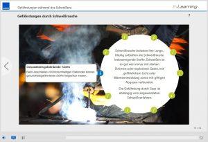 """Infografik aus dem E-Learning Kurs """"Lichtbogenschweißen"""" zu den Gefährdungen durch Schweißrauchen"""
