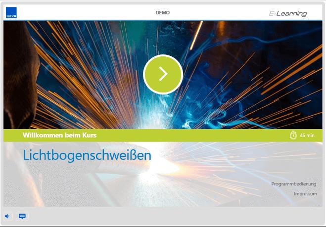 """Demo des E-Learning-Kurses """"Lichtbogenschweißen"""""""