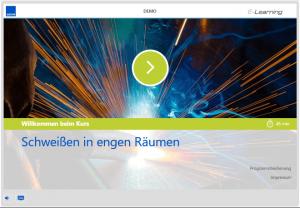 "Demo des E-Learning-Kurses ""Schweißen in engen Räumen"""