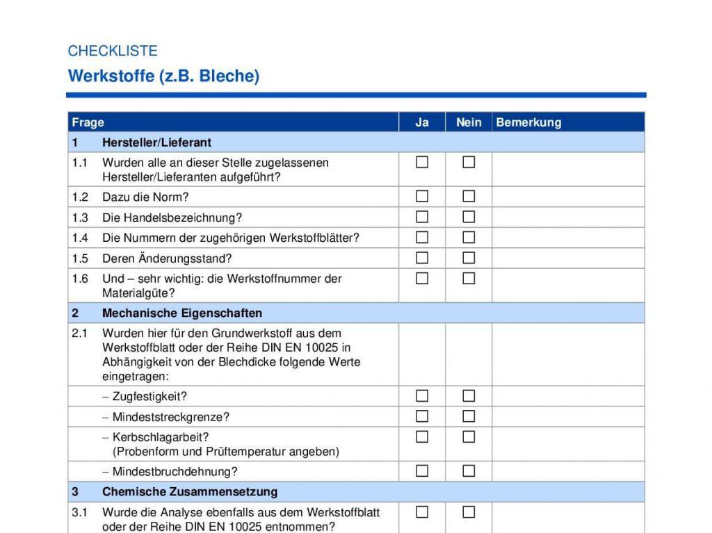 Checkliste für Werkstoffe